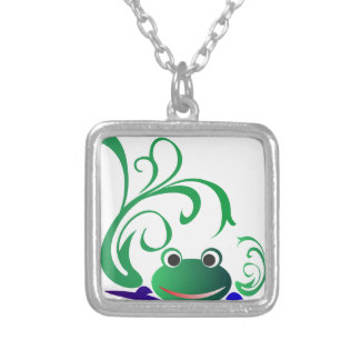 frog-471669 CARTOON CUTE FROG frog water green pon Necklace