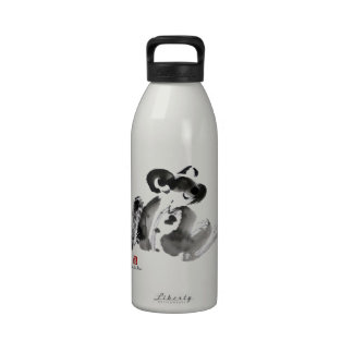 Frog, a traditional Sumi-e Ink Painting Reusable Water Bottles