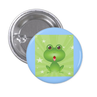 Frog Amphibian Green Frogs Cute Cartoon Animal Button
