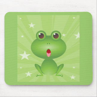 Frog Amphibian Green Frogs Cute Cartoon Animal Mouse Pad