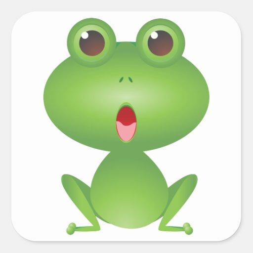 Frog Amphibian Green Frogs Cute Cartoon Animal Square Sticker