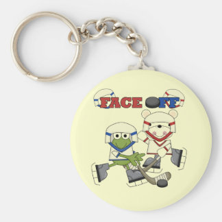 Frog and Bear Hockey Face Off Tshirts and Gifts Key Chain