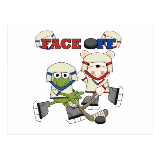 Frog and Bear Hockey Face Off Tshirts and Gifts Postcard