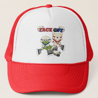 Frog and Bear Hockey Face Off Tshirts and Gifts Trucker Hat