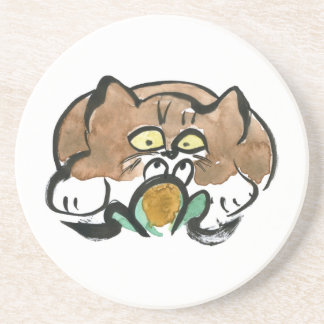 Frog and Brown Tuxedo Kitten Coasters