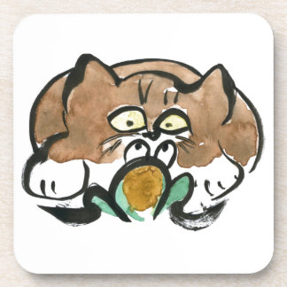 Frog and Brown Tuxedo Kitten Beverage Coasters