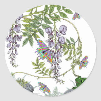 FROG AND BUTTERFLIES CLASSIC ROUND STICKER