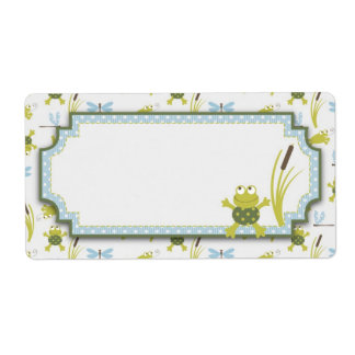 Frog and Dragonfly Baby Shower Custom Shipping Label
