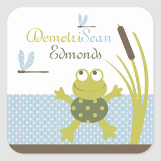 Frog and Dragonfly Baby Shower Square Sticker