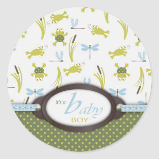 Frog and Dragonfly Baby Shower Sticker