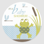 Frog and Dragonfly Baby Shower Classic Round Sticker