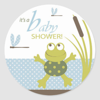 Frog and Dragonfly Baby Shower Round Stickers