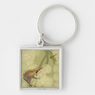 Frog and Dragonfly on Water Lilies Key Chains