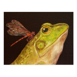 Frog and dragonfly postcard