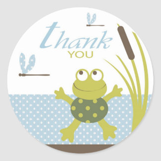 Frog and Dragonfly Thank You Stickers