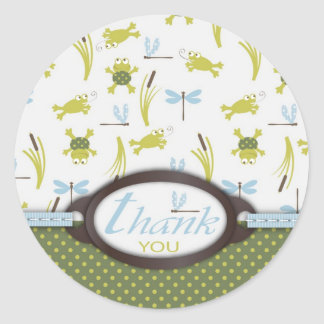 Frog and Dragonfly Thank You Round Stickers