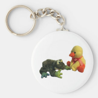 Frog and Duck Basic Round Button Keychain