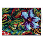 Frog and Flower 2 Greeting Card