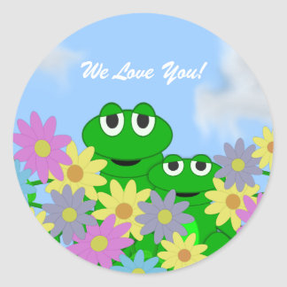 Frog and Flowers : Message Sticker
