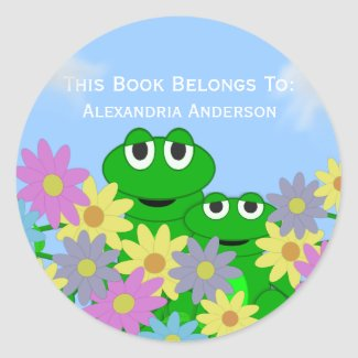 Frog and Flowers: Personalized Book Sticker