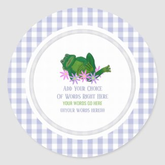 Frog And Gingham Classic Round Sticker