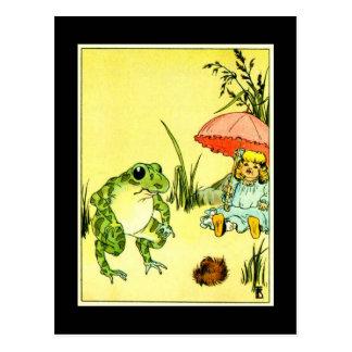 Frog and Girl With Umbrella Postcard