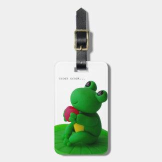 Frog and heart bag tag