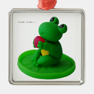 Frog and heart metal ornament