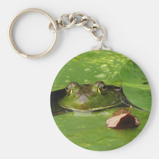 Frog and Lily Pads Basic Round Button Keychain