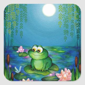 Frog and Lily Pond Square Sticker