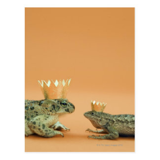 Frog and lizard wearing crowns postcard