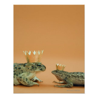 Frog and lizard wearing crowns poster