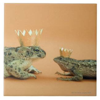 Frog and lizard wearing crowns ceramic tiles