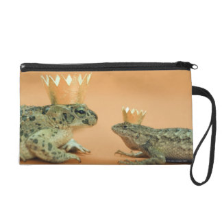 Frog and lizard wearing crowns wristlet purse