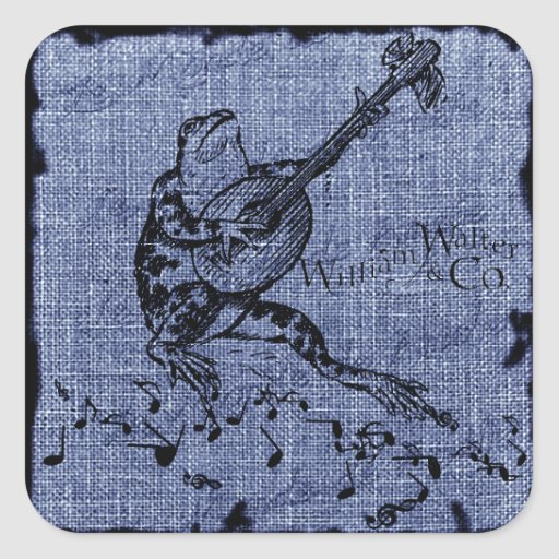 Frog and Lute Bright Blue Square Sticker
