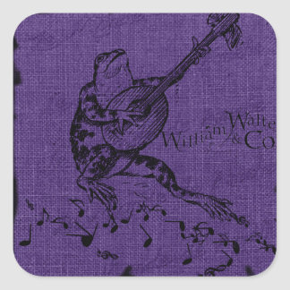 Frog and Lute Purple Square Sticker