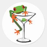 Frog and Martini Classic Round Sticker