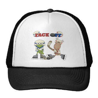 Frog and Moose Hockey Face Off tshirts and Gifts Trucker Hat