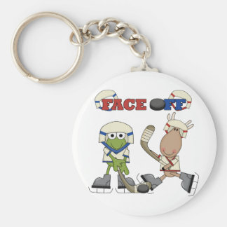 Frog and Moose Hockey Face Off tshirts and Gifts Keychains