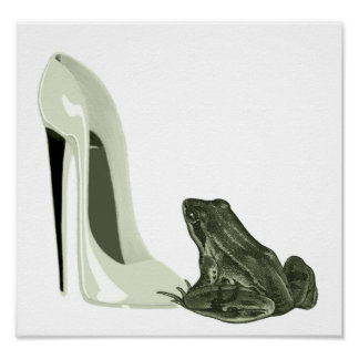 Frog and Stiletto Shoe Poster