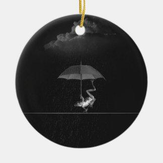 Frog and umbrella ceramic ornament
