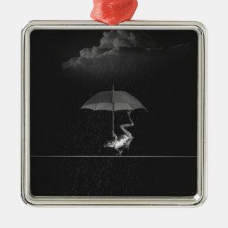 Frog and umbrella metal ornament
