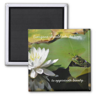 Frog and Water Lily Inspirational Quote Magnet