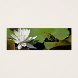 Frog And Water Lily Nature Photo Mini Bookmark Mini Business Card