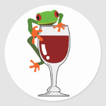 Frog and Wine Classic Round Sticker