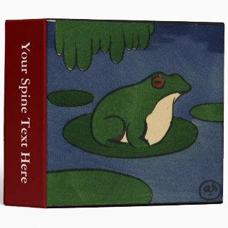 Frog - Antiquarian, Colorful Book Illustration 3 Ring Binder