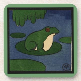 Frog - Antiquarian, Colorful Book Illustration Beverage Coaster