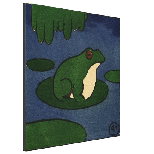 Frog - Antiquarian, Colorful Book Illustration Stretched Canvas Prints