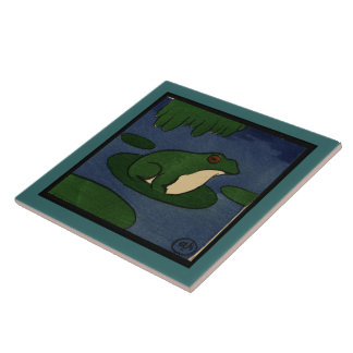 Frog - Antiquarian, Colorful Book Illustration Ceramic Tile