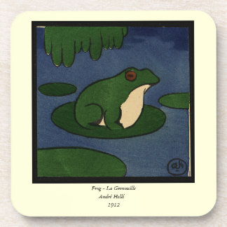 Frog - Antiquarian, Colorful Book Illustration Coaster